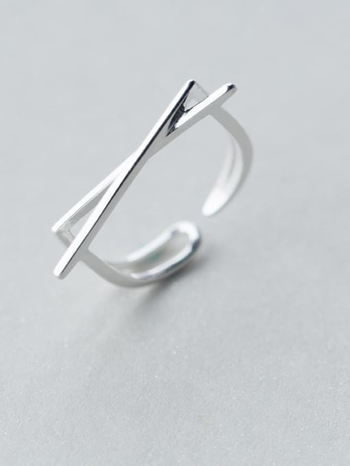 Rosh 925 Sterling Silver Smooth Cross Minimalist  Free Size Ring 0