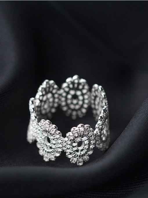 Rosh 925 Sterling Silver  Vintage Flower Free Size Ring