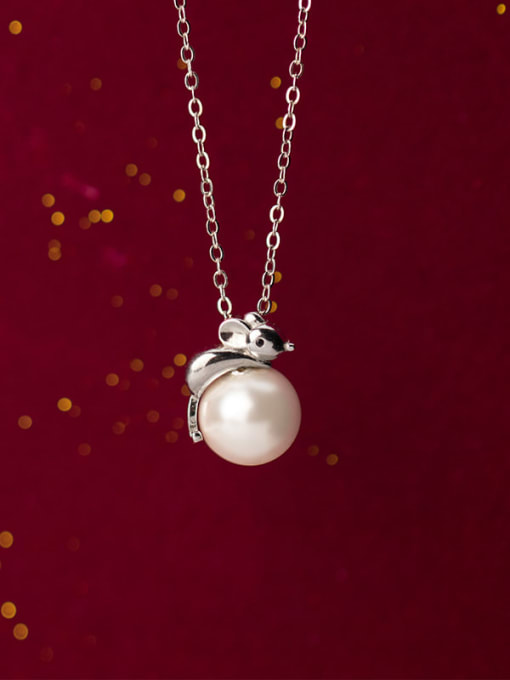Rosh 925 Sterling Silver Imitation Pearl  Cute Mouse   Pendant   Necklace 2