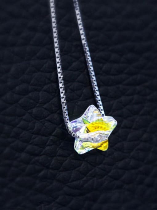 Austrian Crystal Star 925 Sterling Silver  Austrian crystal shiny colorful pendant Necklace
