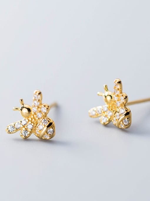 Rosh 925 Sterling Silver Rhinestone  Cute bee Stud Earring 0