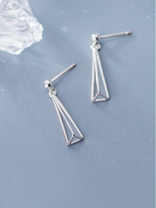 Rosh 925 Sterling Silver Hollow Geometric Minimalist Drop Earring 0