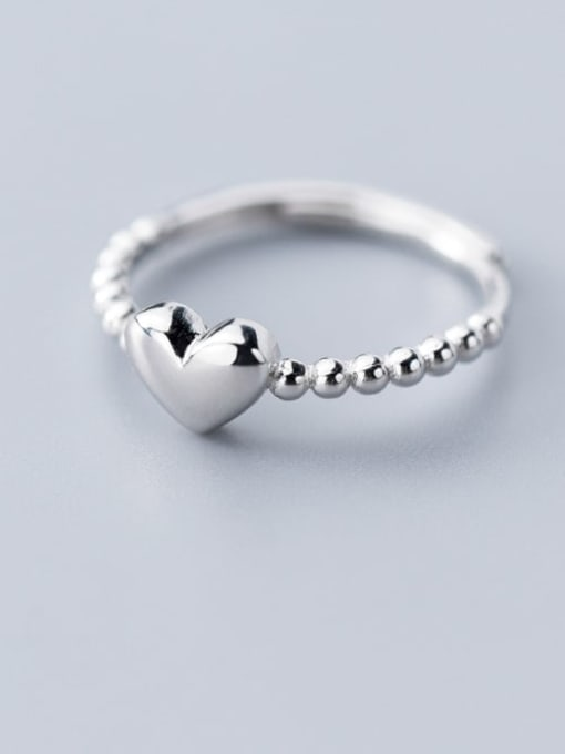 Rosh 925 Sterling Silver Bead Smooth Heart Minimalist Band Ring 0