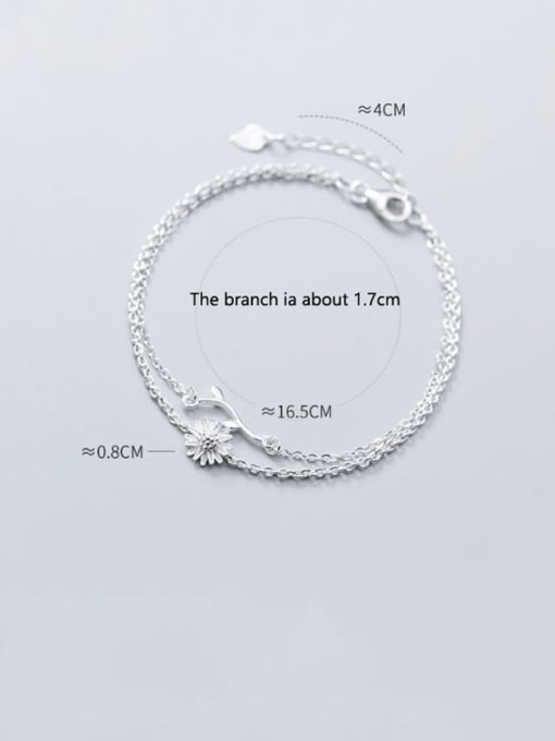 Rosh 925 sterling silver fminimalist Fashion Daisy Leaf Flower Double Bracelet 1