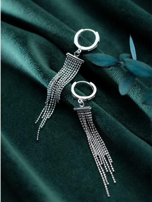 Rosh 925 Sterling Silver Bead Tassel Vintage Threader Earring 2