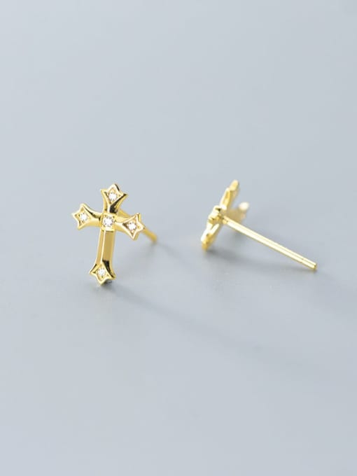 Rosh 925 Sterling Silver Rhinestone  Minimalist  Cross Stud Earring 3