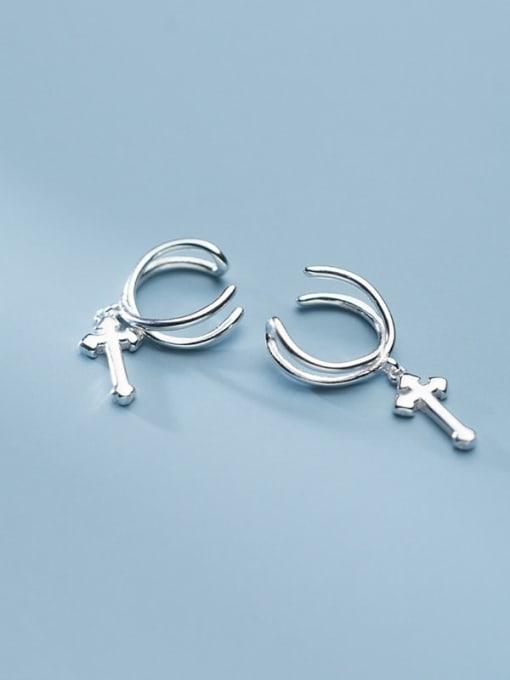 Rosh 925 Sterling Silver  Minimalistv Cross Clip Earring 0