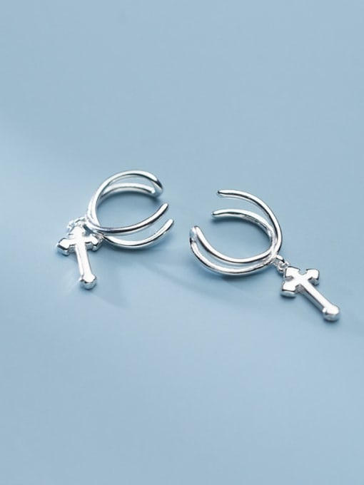 Rosh 925 Sterling Silver  Minimalistv Cross Clip Earring