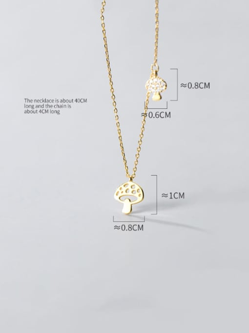 Rosh 925 Sterling Silver Hollow Mushroom Minimalist Necklace