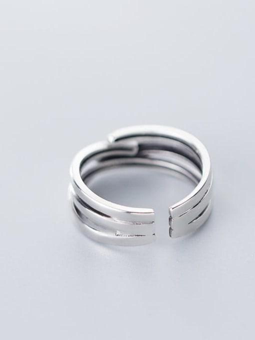 Rosh 925 Sterling Silver Irregular Minimalist Free Size Ring 2