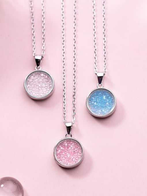 Rosh 925 Sterling Silver Cubic Zirconia Multi Color Round Necklace