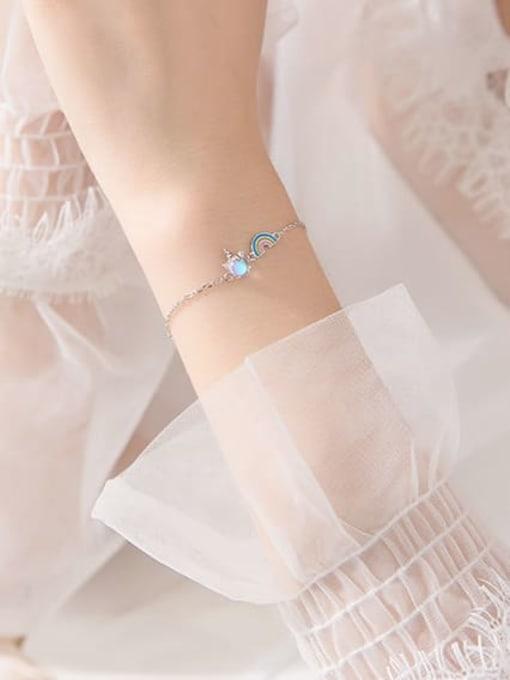 Rosh 925 Sterling Silver Multi Color Rainbow Minimalist Link Bracelet 2