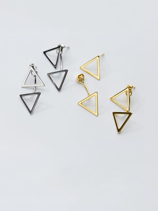 Rosh 925 Sterling Silver Hollow  Triangle Minimalist Stud Earring 1