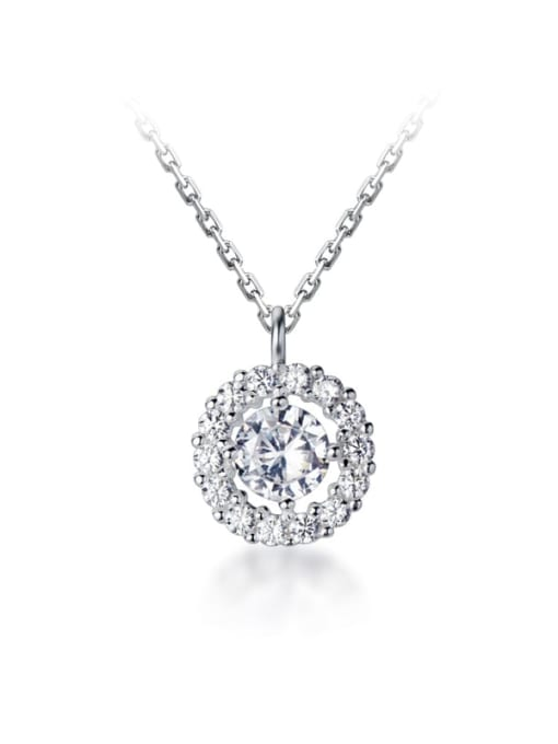 Rosh 925 Sterling Silver Simple diamond Round pendant Necklace 0