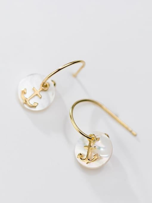 Rosh 925 Sterling Silver Shell  Anchor Trend Hook Earring 0