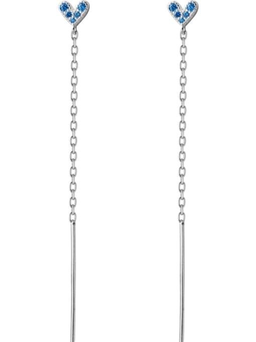 Rosh 925 Sterling Silver Rhinestone Blue Heart Minimalist Threader Earring 2