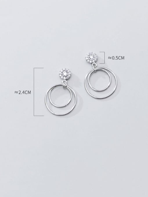 Rosh 925 Sterling Silver Hollow Round Minimalist Drop Earring 3