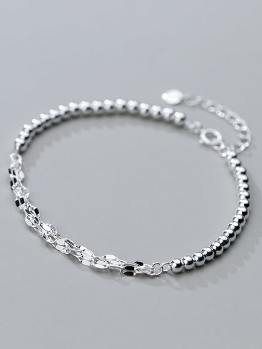 Rosh 925 sterling silver minimalist small silver light Beaded multi-layer twisted bracelet 1