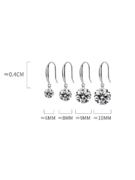 Rosh 925 Sterling Silver Cubic Zirconia White Round Dainty Hook Earring 2