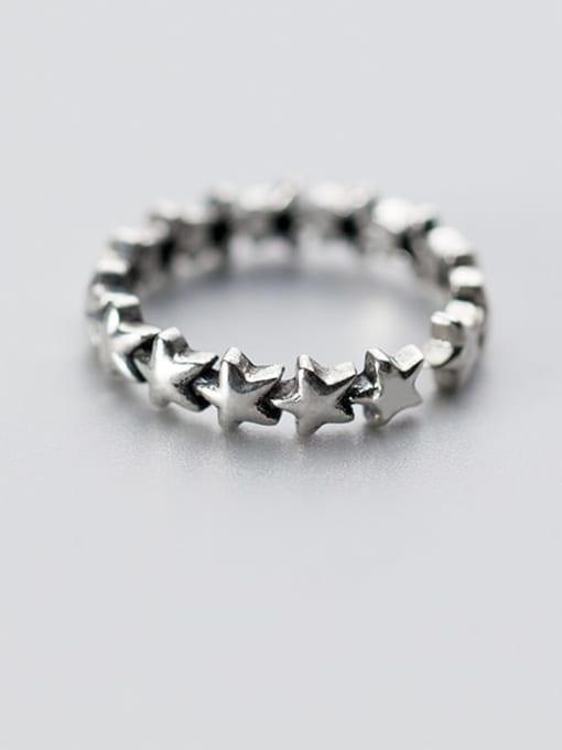 Rosh 925 Sterling Silver  Vintage Star Free Size Ring 3