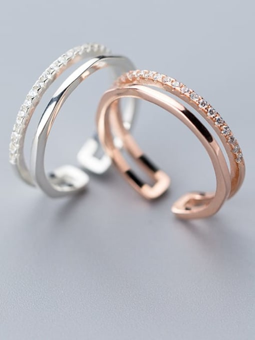 Rosh 925 Sterling Silver Round Minimalist Free Size Ring