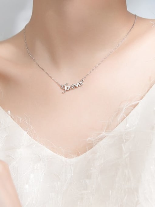 Rosh 925 Sterling Silver Rhinestone White Letter Cute Necklace 1