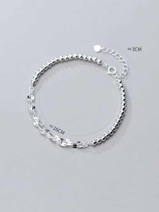 Rosh 925 sterling silver minimalist small silver light Beaded multi-layer twisted bracelet 2