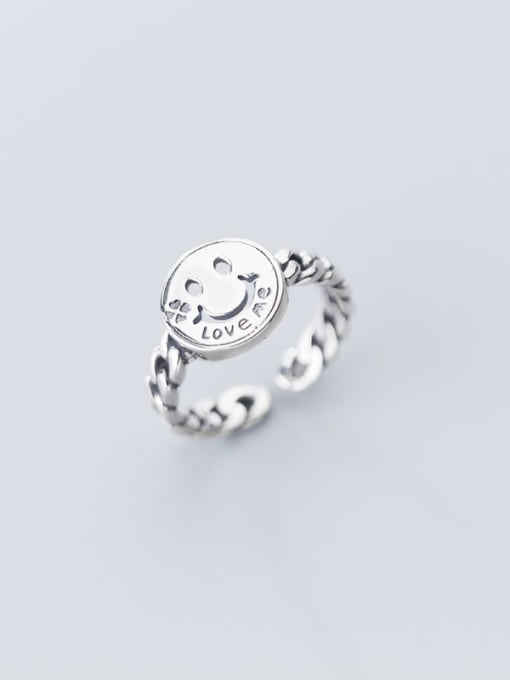 Rosh 925 Sterling Silver  Minimalist Smiley Chain  Free Size Ring 2