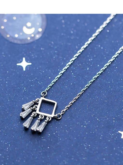 Rosh 925 Sterling Silver Cubic Zirconia  Minimalist Fashion Geometry   Tassel Necklace 2