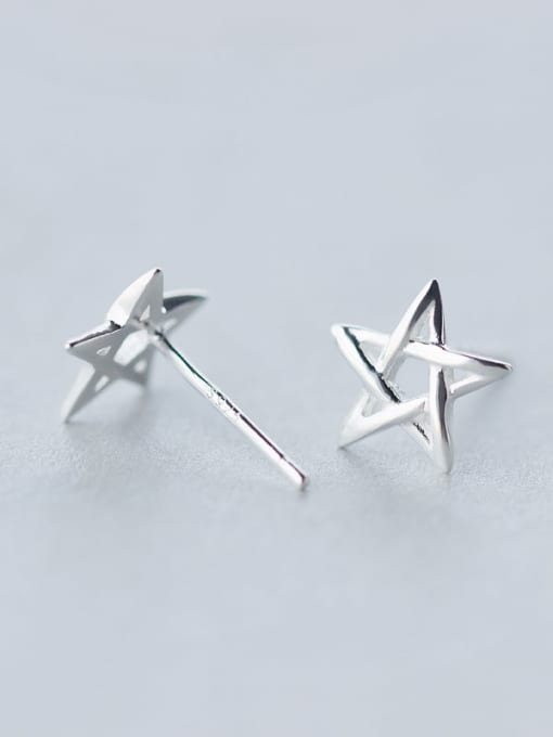 Rosh 925 Sterling Silver  Minimalist  Hollow Pentagram Stud Earring 1