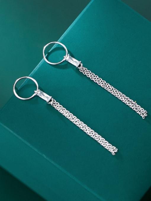 Rosh 925 Sterling Silver Rhinestone Simple ring with diamond tassel  Vintage Threader Earring 1