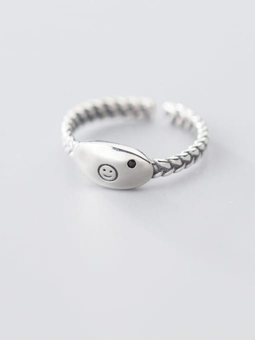 Rosh 925 sterling silver minimalist Smiley free size  ring 0