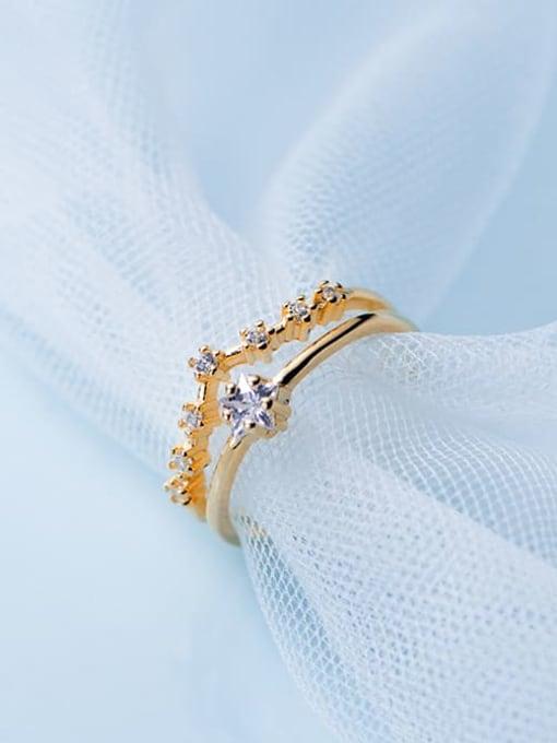 Rosh 925 Sterling Silver  Minimalist Diamond Double Pentagram Free Size Ring 0