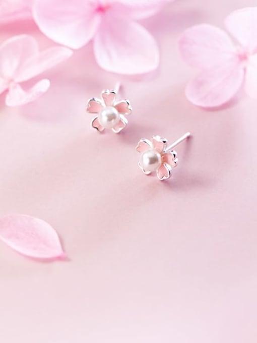 Rosh 925 sterling silver imitation pearl  enamel flower cute stud earring 0