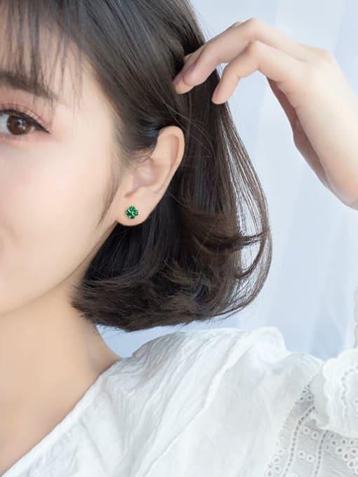 Rosh 925 Sterling Silver Cubic Zirconia Multi Color Flower Minimalist Stud Earring 3