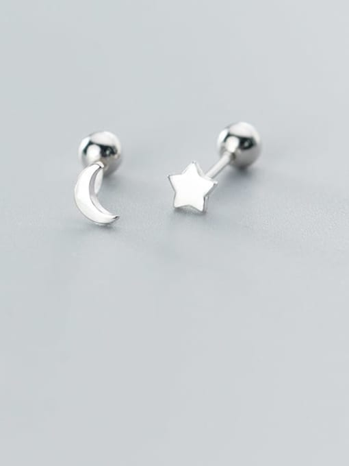 Rosh 925 Sterling Silver  Minimalist Asymmetric stars moon Stud Earring 0
