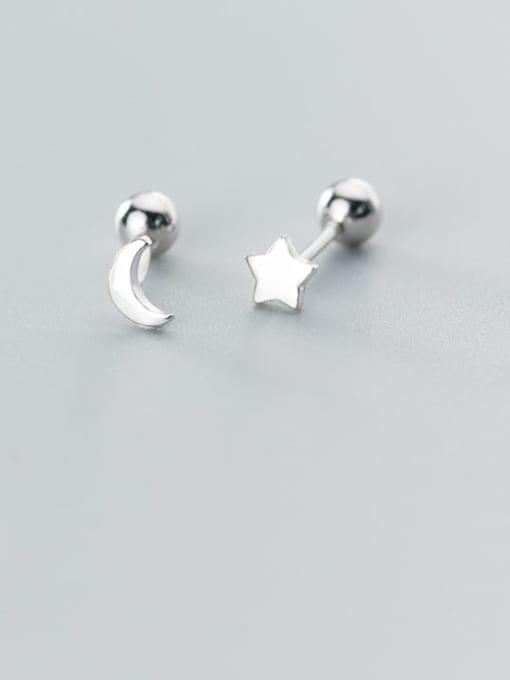 Rosh 925 Sterling Silver  Minimalist Asymmetric stars moon Stud Earring