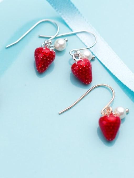 Rosh 925 Sterling Silver Imitation Pearl Friut  Strawberry Minimalist Hook Earring 2