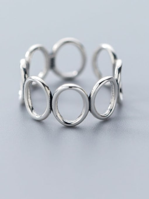 Rosh 925 Sterling Silver Hollow Round Minimalist Free Size Ring 0
