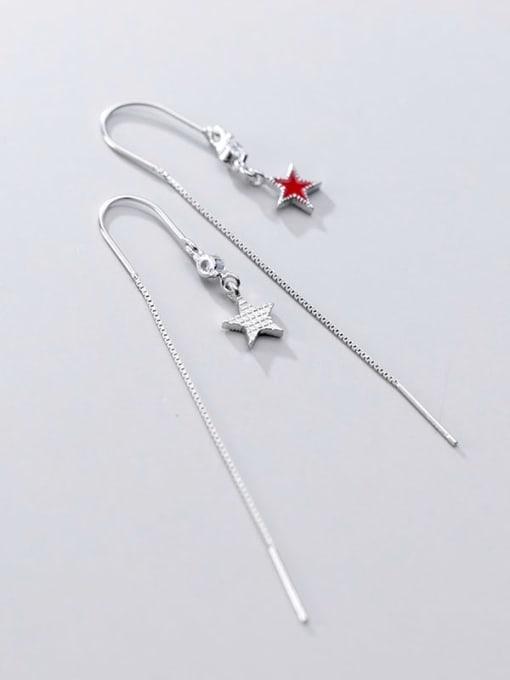 Rosh 925 Sterling Silver Cubic Zirconia  Minimalist Star Threader Earring 3