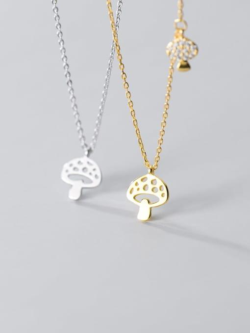 Rosh 925 Sterling Silver Hollow Mushroom Minimalist Necklace 2