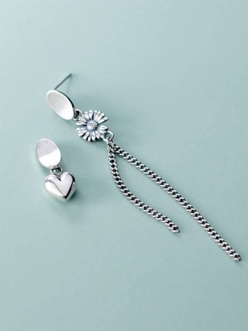Rosh 925 Sterling Silver Retro  Daisy Asymmetric Chain Tassel Threader Earring