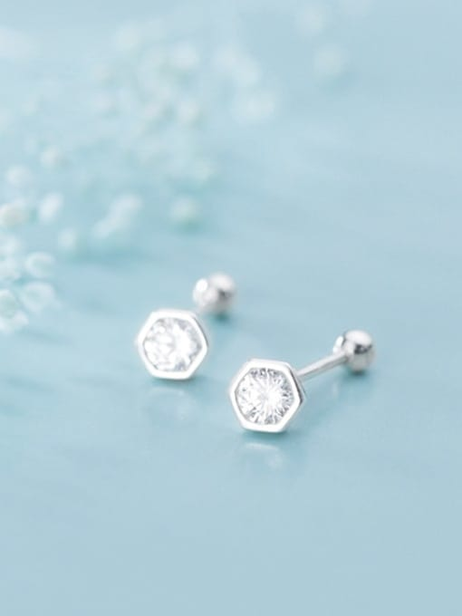 Rosh 925 Sterling Silver Round Cubic Zirconia   Minimalist Stud Earring 3