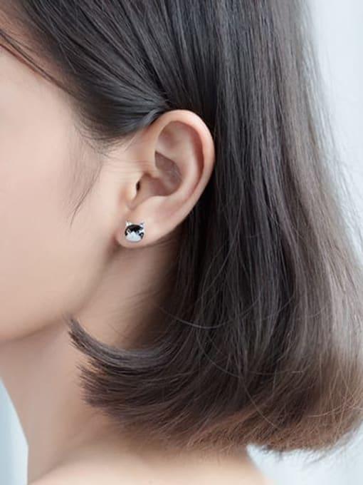 Rosh 925 sterling silver enamel cat minimalist stud earring 2