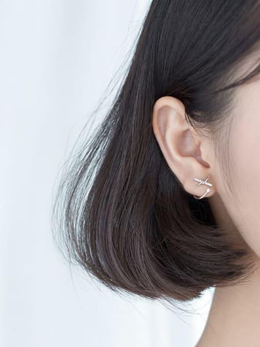 Rosh 925 sterling silver rhinestone bowknot trend stud earring 2