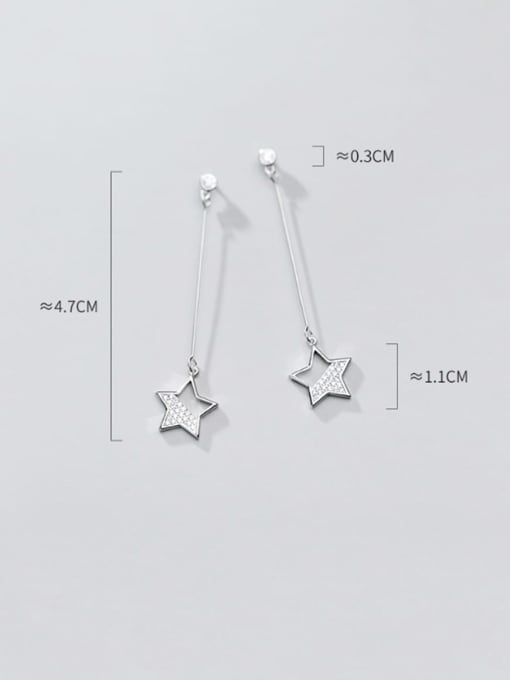 Rosh 925 Sterling Silver Star Minimalist   Threader Earring 2