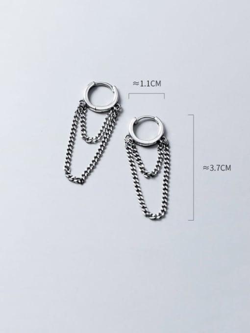 Rosh 925 Sterling Silver Vintage Retro round tassel chain  Huggie Earring 3