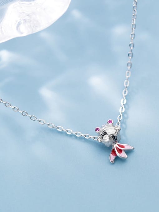Rosh 925 Sterling Silver  Cute Diamond Gold Fish Pendant Necklace