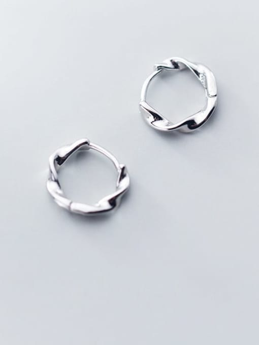 Rosh 925 Sterling Silver Round Minimalist Huggie Earring 1