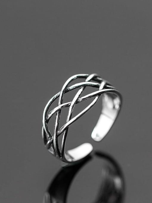 Rosh 925 Sterling Silver Vintage Crossover Line Free Size Ring 1